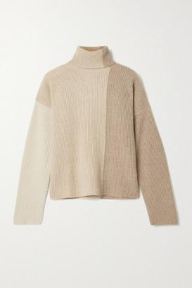 La Ligne Color-block Ribbed Cashmere Turtleneck Sweater - Beige