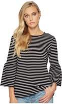 Kensie Stretchy Crepe Tees Bell Sleeve Top KS2K312S Women's Clothing