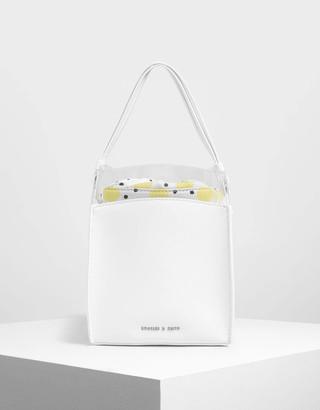 Charles & Keith Black and White Stripe Bucket Bag