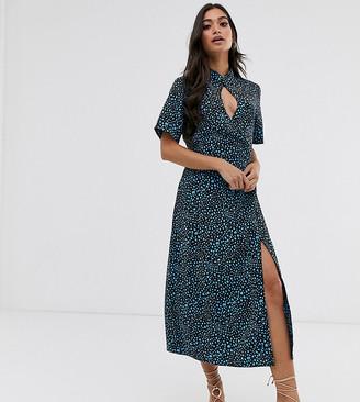 Fashion Union Petite high neck midi shift dress with key hole detail in dalmation satin-Blue