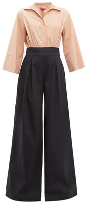 STAUD Scoti Two-tone Cotton-blend Poplin Jumpsuit - Womens - Black Multi