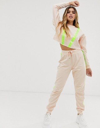 ASOS DESIGN tracksuit cropped sweat / jogger with reflective tape