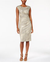Connected Petite Draped Metallic Dress