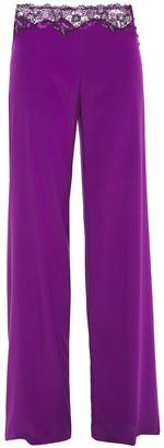 La Perla Embroidered Stretch-silk Crepe De Chine Pajama Pants
