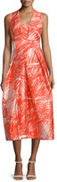 Milly Sleeveless Printed Midi Cocktail Dress, Flame