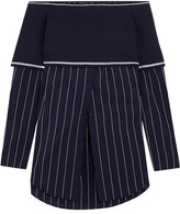 DKNY Off-the-shoulder Stretch-knit And Poplin Top - Navy