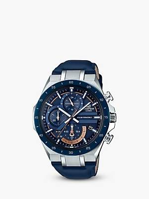 Casio EQS-920BL-2AVUEF Men's Edifice Solar Chronograph Date Leather Strap Watch, Blue