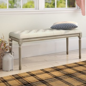 Ophelia & Co. Bullen French Upholstered Bench Upholstery: Beige, Color: Natural Wood