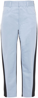 Haider Ackermann Paneled Cotton-blend Twill And Wool-crepe Tapered Pants