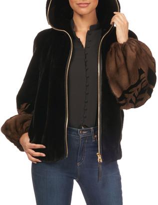Gorski Two-Tone Intarsia Balloon-Sleeve Fur Jacket