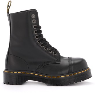 Dr. Martens Bxb Amphibious Boot In Shiny Black Leather