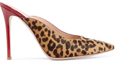 Gianvito Rossi 105 Leopard-print Calf Hair And Patent-leather Mules - Leopard print