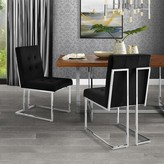 Everly Bellamy Upholstered Dining Chair Quinn Upholstery Color: Black, Frame Color: Chrome