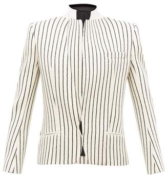 Haider Ackermann Velvet-collar Striped-jacquard Wool Blazer - Womens - Cream Multi