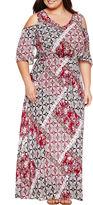 Boutique + + Cold Shoulder Woven Maxi Dress-Plus