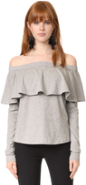 Robert Rodriguez Cold Shoulder Ruffle Sleeve Tee