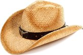 Simplicity Kid's Two-Toned Brown Costume Cowboy Straw Hat with Metal Bull D ̈¦cor