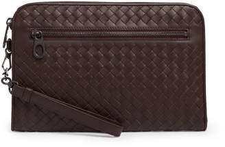Bottega Veneta Leather Intrecciato Clutch Bag