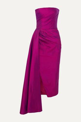 Rasario Strapless Draped Silk-shantung Midi Dress - Magenta