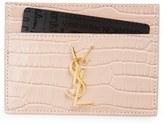 Saint Laurent Women's Monogram Croc Embossed Leather Card Case - Blue