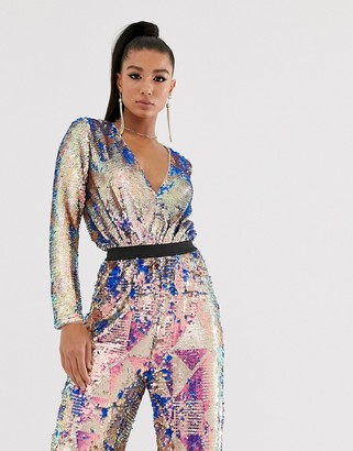 TFNC wrap front bodysuit in multi sequin