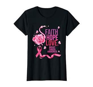 Womens Faith Hope Love Pink Ribbon Flamingo Breast Cancer Awareness T-Shirt