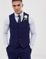 Asos DESIGN wedding skinny suit vest in blue wool blend herringbone