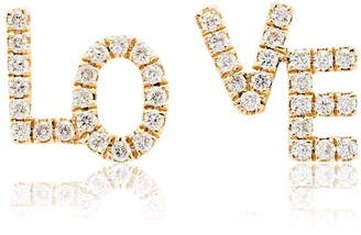 Rosa de la Cruz 18k yellow gold Love diamond stud earrings