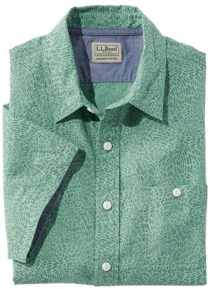 L.L. Bean L.L.Bean Men's LakewashedA Organic Cotton Camp Shirt, Short-Sleeve, Print