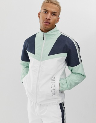 Nicce zip thru jacket with reflective panels and side stripe logo