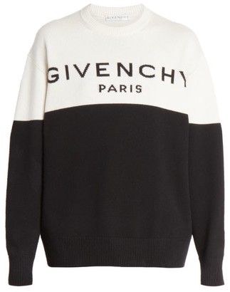 Givenchy Bi-Color Logo Knit Cashmere Sweater