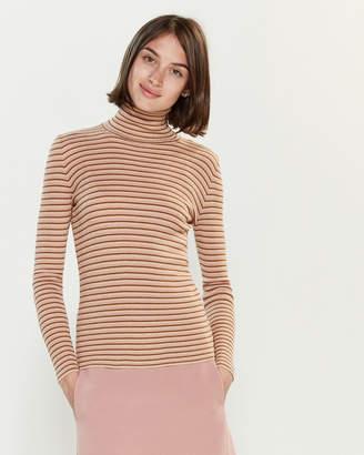Roberto Collina Pinstripe Metallic Long Sleeve Sweater