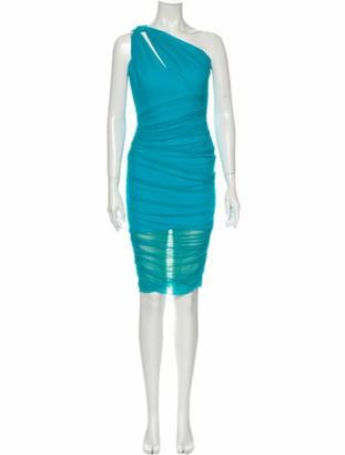 Versace One-Shoulder Knee-Length Dress Blue
