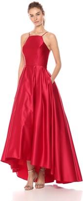 Betsy & Adam Women's Halter Ballgown Dress
