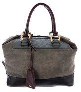 Diane von Furstenberg Embossed Leather-Trimmed Satchel