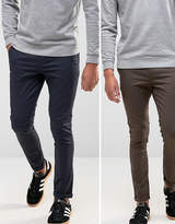 Asos 2 Pack Super Skinny Chinos In Navy & Brown SAVE