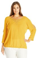 NY Collection Women's Plus Size 3/4 Sleeve Solid Cold Should V Neck with Heat Seal Top