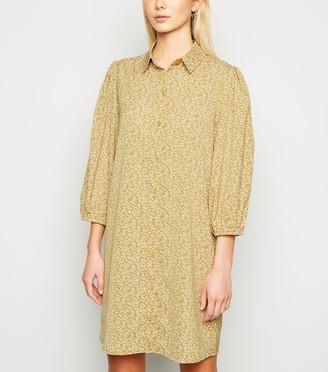 New Look Floral Puff Sleeve Shirt Dress