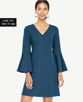 Ann Taylor Tall V-Neck Bell Sleeve Dress