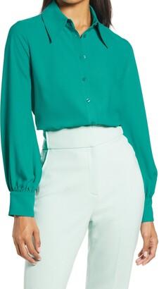 Halogen x Atlantic-Pacific Puff Sleeve Button-Up Shirt