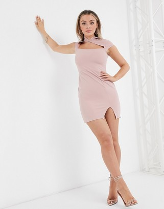 I SAW IT FIRST scuba crepe cut out bodycon dress in pink