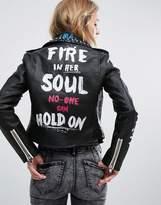Bershka Stud And Graffiti Biker Jacket