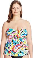 Anne Cole Women's Plus Size Painterly Paisly Twist Front Tankini
