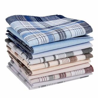 Jarr3y1l 10PCS 100% Cotton Mens Handkerchiefs Mens Soft Checkered Pattern Multi-Colour 38 X 38CM