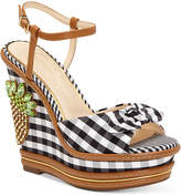 Jessica Simpson Azeena Gingham Wedge Sandals Women's Shoes