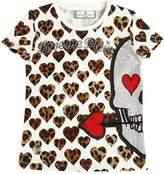 Philipp Plein Junior Leopard Print Cotton Jersey T-Shirt
