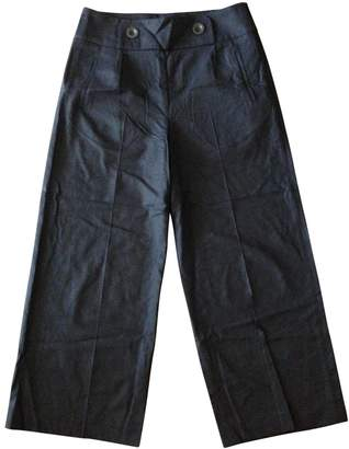 Toast Navy Wool Trousers for Women