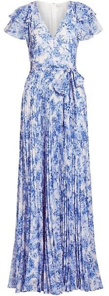ML Monique Lhuillier Flutter Sleeve Pleated Maxi Dress