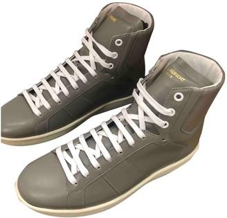 Saint Laurent Grey Leather Trainers
