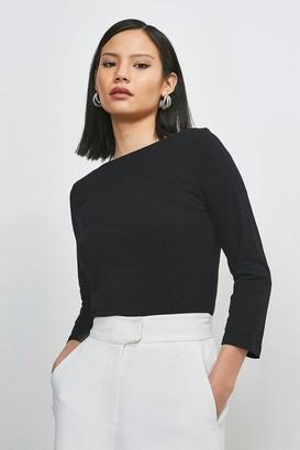 Karen Millen Organic Cotton Slash Neck Top